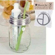 """diameter and ⅞"""" tall. This lid fits any standard Mason jar. Turn any standard Mason jar into a toothbrush and toothpaste holder, or use it to hold other items around the craft room or kitchen. Aluminum lid is food safe, dishwasher safe, and will not rust Diy Hanging Shelves, Diy Wall Shelves, Floating Shelves Diy, Mason Jar Diy, Mason Jar Crafts, Vintage Mason Jars, Crafts With Mason Jars, Mason Jar Holder, Mason Jar Kitchen"""