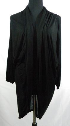 Guess Women's Small Black Open Front Cardigan Long Slightly Sheer  #GUESS #Cardigan