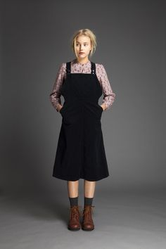Cotton Velvet Dungaree Dress