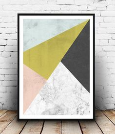 Marble wall print Geometric art Watercolor abstract by Wallzilla