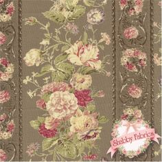 "Mary Rose Collection Grace - 2140-12E By Quilt Gate Fabrics: Mary Rose Grace is a collection by Quilt Gate Fabrics.  100% cotton.  43""/44"" wide.  This fabric features rows of pink roses and rose stripes on a cocoa background. Swatch is 8"" X 8""."