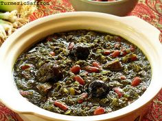 Ghormeh Sabzi - Persian Herb Stew - I grew up eating this stew, it tastes so good. There are many variations on the ingredients for all Persian/Middle Eastern food -- it depends what country you come from and what part of the country you are in. Iranian Dishes, Iranian Cuisine, Iran Food, Sabzi Recipe, Eastern Cuisine, Middle Eastern Recipes, Arabic Food, Mediterranean Recipes, International Recipes