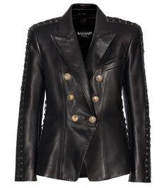 ¡Cómpralo ya!. Embellished Leather Jacket. Black Embellished Leather Jacket By Balmain , chaquetadecuero, polipiel, biker, ante, anteflecos, pielflecos, polipielflecos, antelina, chupa, decuero, leather, suede, suedette, fauxleather, tassel. Chaqueta de cuero  de mujer color negro de Balmain.