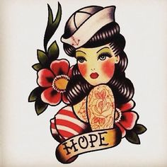 Ideas tattoo old school traditional ink sailor jerry Pin Up Girl Tattoo, Pin Up Tattoos, Trendy Tattoos, Body Art Tattoos, Girl Tattoos, Cute Tattoos For Girls, Tattos, Flash Tattoos, Tattoos Skull