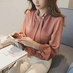 2017 Mulheres Sólidos Blusas de Chiffon de Moda de Nova Lanterna Manga Blusa Gola Elegante Magro Coreano Senhoras Camisas 64379