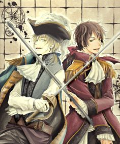 Arthur and Antonio in 18th century getups...and anachronistic weapons :P - Art by 平 on Pixiv, found via Zerochan