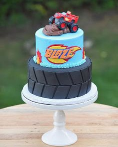 At Sugar & Bloom Cake Co. we specialize in custom cake design and made to order cupcakes and whoopie pies. Torta Blaze, Bolo Blaze, Blaze Cakes, Bolo Hot Wheels, Hot Wheels Cake, Hot Wheels Party, Blaze Birthday Cake, Truck Birthday Cakes, Lego Birthday