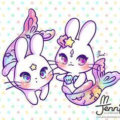 Art Kawaii, Kawaii Bunny, Cute Kawaii Animals, Kawaii Chibi, Cute Chibi, Cute Easy Animal Drawings, Cute Kawaii Drawings, Anime Mermaid, Dibujos Cute