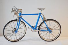 Royal blue sports bike , collectible miniature bicycle, movable parts