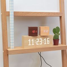 Cube Alarm Clock - Walnut/Red by Gingko Electronics | MONOQI