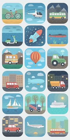 Transport and travel icons by alex serada, via behance. Travel Icon, Travel Logo, Toddler Activities, Preschool Activities, Kindergarten, Application Icon, Transportation Theme, Travel Illustration, Toddler Learning