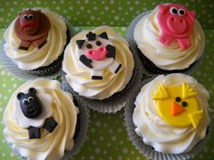 36  Barn Yard Friends -  Edible Farm Animals Toppers For Cakes, Cupcakes and Cookies. $41.95, via Etsy.