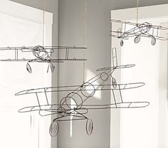 Wire Hanging Airplanes from Pottery Barn Kids for the boys Toddler Rooms, Baby Boy Rooms, Baby Boy Nurseries, Baby Room, Airplane Bedroom, Airplane House, Vintage Airplane Nursery, Airplane Mobile, Boys Airplane Room