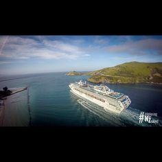 The Sea Princess is leaving the Harbour of Port Chalmers, Dunedin, New Zealand, after a beautiful day.