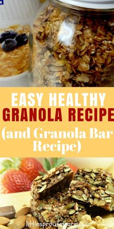 GRANOLA RECIPE: GRANOLA BAR RECIPE: Granola is a staple in my house and I make it often. Granola is a healthy snack, it stores well in a simple mason jar, it's a quick pick me up or something to grab when you're starving. And best of all, it's yummy! Granola and granola bars are some of my favorite things to make.