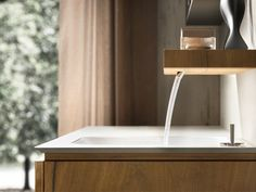 WALL-MOUNTED OAK VANITY UNIT WITH DOORS MAIA 301 MAIA COLLECTION BY EDONÉ BY AGORÀ GROUP