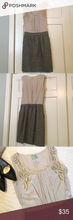 """SALE🌟Tabitha Silk and Tweed Beaded Dress, Anthro Gorgeous dressy business-style dress by Tabitha from Anthropologie! Fit is so figure-flattering! Beige bodice is 100% Silk with metallic beading details. Tweed speckled skirt has POCKETS💕and is a blend of Polyester, wool and acrylic! This is in excellent condition--there's just one missing bead by the right armhole (last pic). Side-zipper closure--dry clean only!                                                       Bust: 15"""" flat from…"""