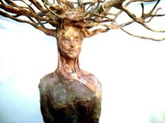 art, original sculpture, paper mache, tree spirit