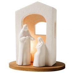 Pesebre de navidad con luz de arcilla blanca H 25,5cm | venta online en HOLYART