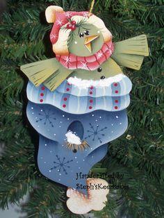Green Bird Handpainted Ornament by stephskeepsakes on Etsy