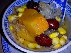 Pumpkin for desserts, there are so many kinds and combinations. This dessert has pumpkin with white fungus, red dates and sweet corn. ...