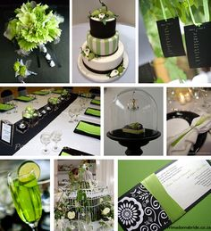 Green, black and white wedding colours