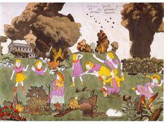 Henry Darger: The clouds! (Auch wieder die dunklen Wolken, symbolisch für depressive Verstimmung oder ein kommendes Unwetter im übertragenen Sinn.)