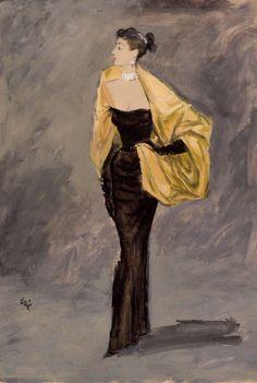 'Balenciaga Evening Dress, 1951'  :  Carl Oscar August Erickson. Signed Eric. Gouache on Paper.  France.  Vogue Magazine    1951
