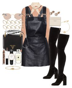 """""""Begin Again"""" by marissa-91 ❤ liked on Polyvore featuring H&M, Love Leather, Laurence Dacade, Chloé, Mykita, Prada, Jo Malone, ASOS, Daniel Wellington and Yves Saint Laurent"""