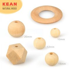 Natural Wood Teething Flat Oval Beads DIY Baby Chewable Sensory Teether Jewelry