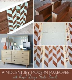 Modern Herringbone stencil from Royal Design Studio is the perfect choice for a Mid Century stenciled furniture project.