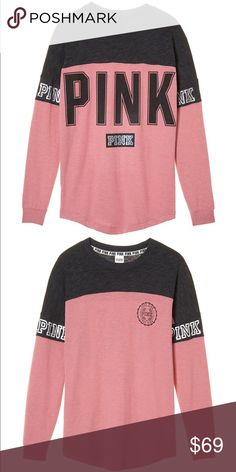 Medium PINK. Varsity Crew - Soft Begonia Oversized, NWT PINK Victoria's Secret Sweaters