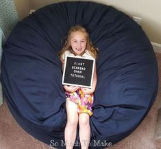 """Bean bag chairs had always been the favorite spot among kids at home for their """"me time."""" But while there are available premade products of its kind in the market, nothing offers greater pleaser than to make your own DIY bean bag chair for your kids. Big Bean Bags, Giant Bean Bags, How To Make A Bean Bag, Giant Bean Bag Chair, Kids Bean Bag Chairs, Bean Bag Dog Bed, Homemade Beans, Mother Daughter Projects, Pillows"""