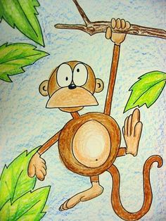 cute one day project if a class is ahead...do it fantastic style with line texture and wild colors Animal Art Projects, Jungle Art Projects, School Art Projects, Monkey Art, Monkey Drawing Cute, Third Grade Art, Drawing Activities, Mural Infantil, Ecole Art
