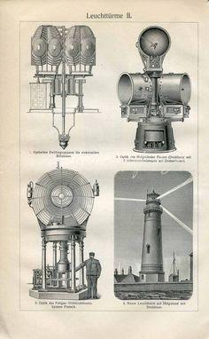 Lighthouses Architecture Lamps Fresnel por AntiquePrintsAndMaps
