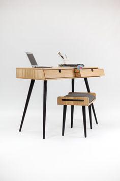 Secretária em madeira de carvalho, Bureau, penteadeira, mesa de escritório, Classic, Mid Century, Moderno, Tantik.
