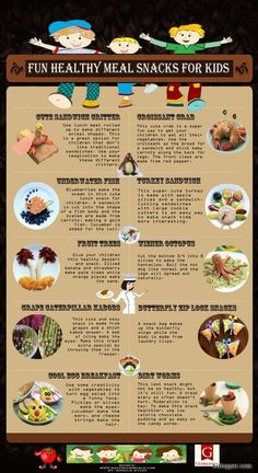 Fun Healthy Snacks For Kids Infographic via www.bittopper.com/post.php?id=6630123815271a06a1543d6.78172183