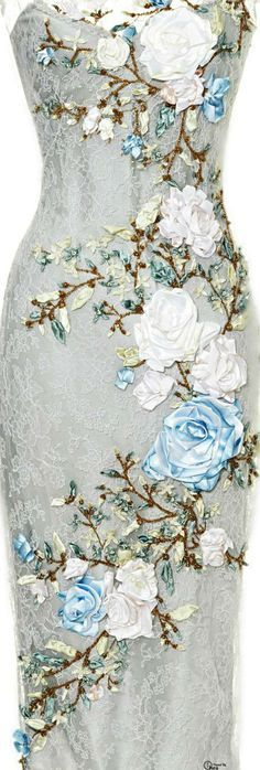 silk ribbon embroidery dress - Google Search