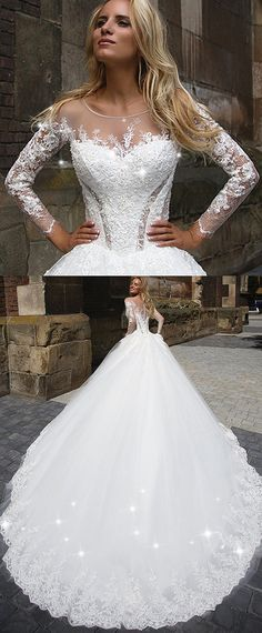 Gorgeous Tulle Scoop Neckline Ball Gown Wedding Dress With Lace Appliques & Beadings
