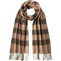 Burberry Shoes & Accessories Cashmere Half Mega Check Scarf ($410) ❤ liked on Polyvore featuring accessories, scarves, brown, women, burberry, cashmere scarves, burberry scarves, brown scarves and burberry shawl