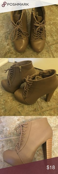Heeled Booties Zipper on inside, lace-up. Worn less than three times. Slight signs of wear on bottoms (pictured). Good condition. Similar to Jeffrey Campbell Lolitas. Shoes Heeled Boots