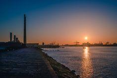 The Dublin port as seen from Poolbeg lighthouse Landscape Pictures, Dublin, Lighthouse, Landscapes, Celestial, Sunset, Outdoor, Bell Rock Lighthouse, Paisajes