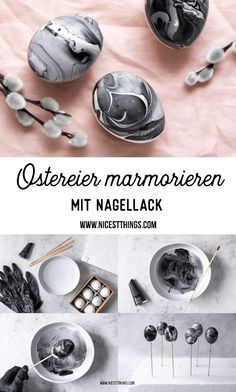 Marble Easter eggs with nail polish - Easter table decorations - Nic .- Ostereier marmorieren mit Nagellack – Tischdeko Ostern – Nicest Things Advertising / Easter eggs marbled with nail polish marble Easter eggs table decoration Easter polish - Polish Easter, Easter Table Decorations, Easter Decor, Diy Ostern, Easter Crafts, Happy Easter, Easter Eggs, Nail Polish, Nice