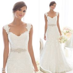 Mermaide Wedding Dress 2016 New Fashion Appliques Beaded Sashes Court Train Bride Dress Lace Wedding Dress Shoulders Elegant