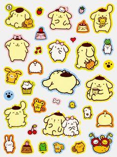 Pom Pom Purin stickers, as courtesy of Sanrio Stickers Kawaii, Anime Stickers, Cat Stickers, Printable Stickers, Journal Stickers, Planner Stickers, Korean Stickers, Kawaii Doodles, Cartoon Girl Drawing