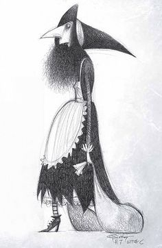 art, illustration, figure, black & white, woman, side, standing, witch, halloween, // Carter Goodrich