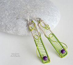 Wire wrapped bar earrings Green purple wire wrap minimalist