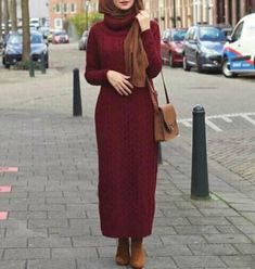 Winter knit dress with hijab-How to choose your daily hijab wear – Just Trendy Girls Abaya Fashion, Muslim Fashion, Modest Fashion, Hijab Wear, Casual Hijab Outfit, Hijab Style, Hijab Chic, Maxi Outfits, Fashion Outfits