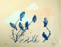 bluebird clouds - original linocut print - limited edition of 30 - 21,5x26 cm on Etsy, $63.71 AUD
