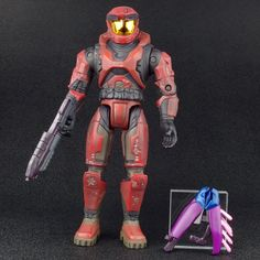 "Halo 1 Spartan Maroon Red MASTER CHIEF Battle Damaged 8"" Action Figure Joyride #JoyrideStudios"